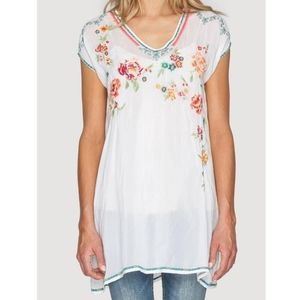 Johnny Was Carmen Boho White Embroidered Tunic Top